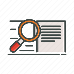 document, file, glass, magnify, paper, research, zoom icon