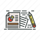 document, files, pencil, pie chart, research icon