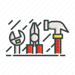 hammer, patent, tools, wrench icon