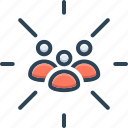 cluster, conglomeration, congregation, focus, focus group, group, team icon