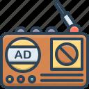 advertising, broadcast, journalist, radio, radio advertising, technology icon