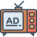 ads, advertisement, broadcast, technology, television, television ads icon