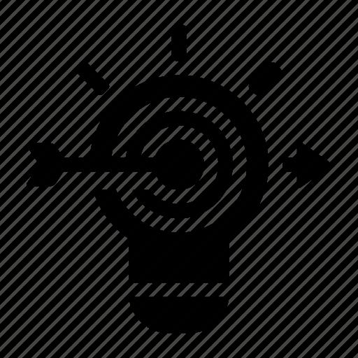 bulb, goal, idea, light, success, target icon