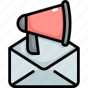 advertising, announcement, email, mail, megaphone, promote, promotion icon
