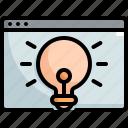browser, creative, creativity, idea, lightbulb, seo, web icon