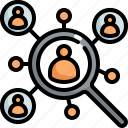 find, marketing, network, people, search, seo, target icon