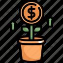 dollar, finance, growth, money, profit, tree icon