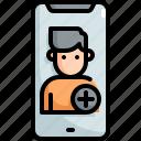 add, cellphone, finance, friend, mobile, network, seo icon