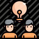 brainstorm, creative, creativity, idea, innovation, light bulb, teamwork icon