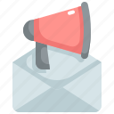 advertising, announcement, email, mail, marketing, megaphone, promotion icon