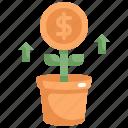 coin, dollar, finance, investment, money, profit, tree icon