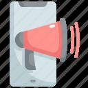 advertisement, advertising, announcement, loudspeaker, megaphone, mobile, promotion icon