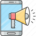 advertising, annoucement, device, marketing, megaphone, mobile, smartphone icon