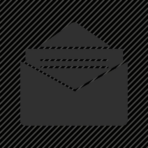 envelope, letter, open envelope, open letter icon