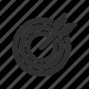 arrow, arrow in target, dart, target icon