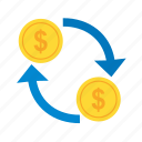 business, currency, dollar, finance, money, transfer icon