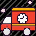 car, clock, transport, van