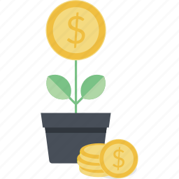 banking, business, finance, flat design, growth, investment, money icon