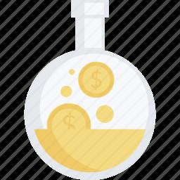 business, finance, flat design, investment, laboratory, make, money icon