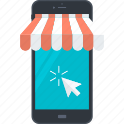 business, flat design, m-commerce, marketing, mobile, online, shopping icon