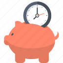 banking, business, finance, flat design, guardar, piggy bank, save, time icon