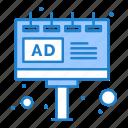 ad, advertisement, advertising, billboard, board, sign icon