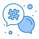 email, hash, message, number, tag icon
