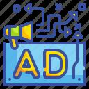 ads, advertisement, advertising, billboard, marketing, publicity, signaling icon