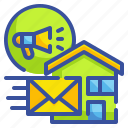 communications, direct, letter, mail, marketing, postbox, target icon