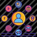 channel, technique, technology, marketing icon