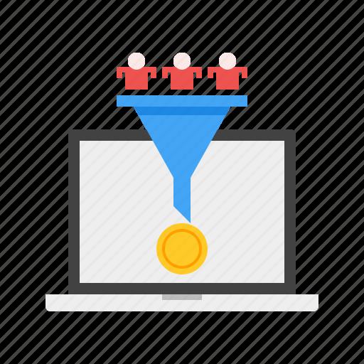 conversion, customer, income, marketing, money, online icon