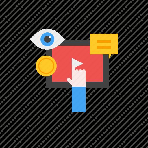 click, marketing, media, money, social, video icon