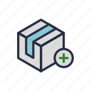 add, box, delivery, marketplace, package, shipment, stuffs icon