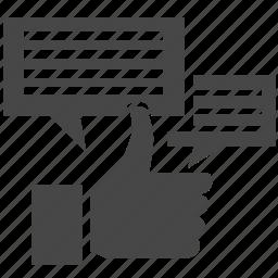 chat, comment, dialog, like, speak, speech, talk icon