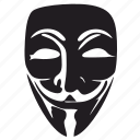 face, incognito, mask, robbery, terrorist, theft, vendetta icon