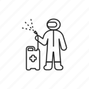 disinfector, protective, sprayer, suit, worker icon