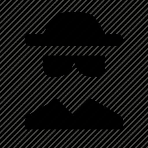 avatar, detective, glasses, hat, human, spy icon