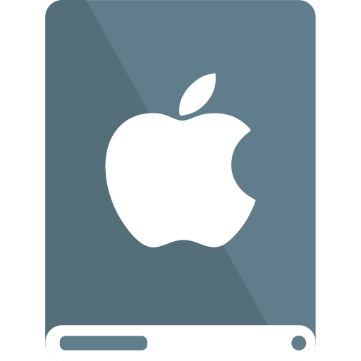 apple, bg, drive, white icon