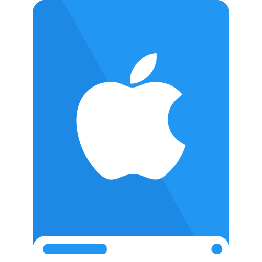 apple, blue, drive, white icon