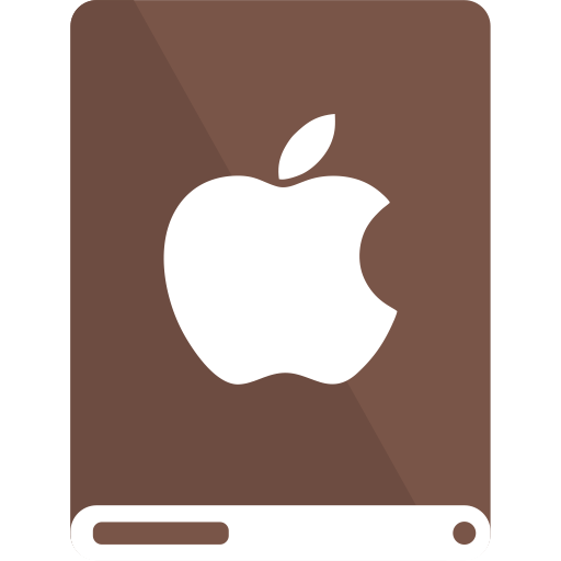 apple, brown, drive, white icon