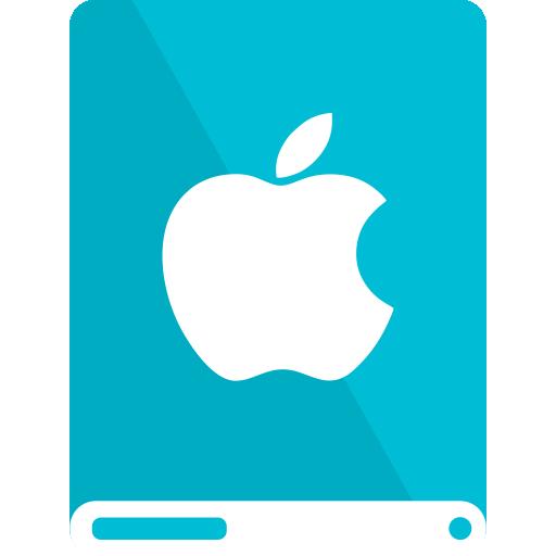 apple, cyan, drive, white icon