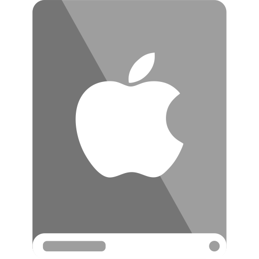 apple, drive, grey, white icon