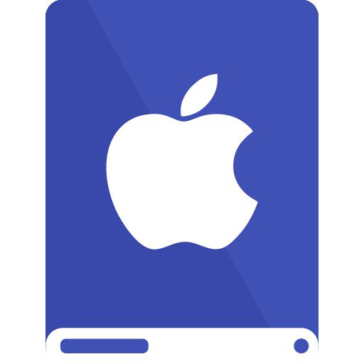 apple, drive, indigo, white icon