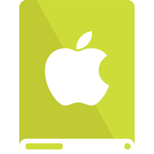apple, drive, lime, white icon