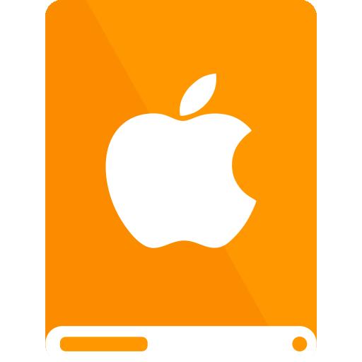 apple, drive, orange, white icon