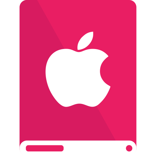apple, drive, pink, white icon