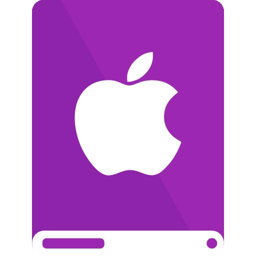 apple, drive, purple, white icon