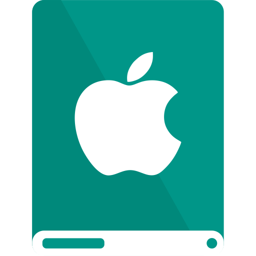 apple, drive, teal, white icon
