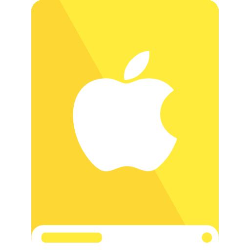 apple, drive, white, yellow icon