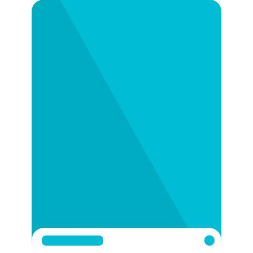 cyan, drive, white icon